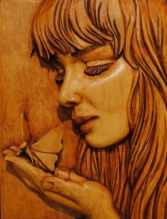 Girl with Butterfly - Basswood