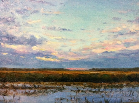 Sunset on Snowy Marshes - Oil