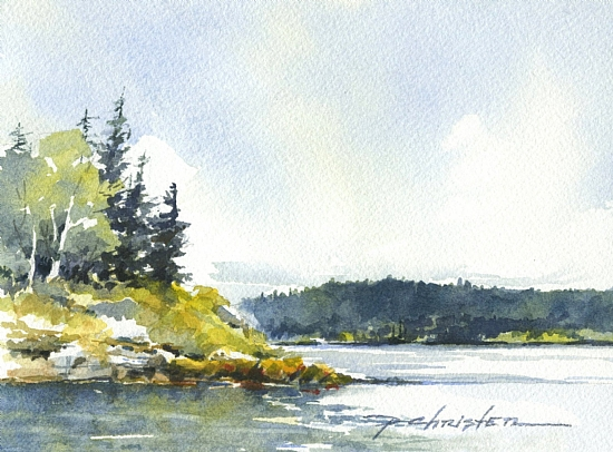 Sunny Delight by Paula Christen Watercolor ~ 5 x 7