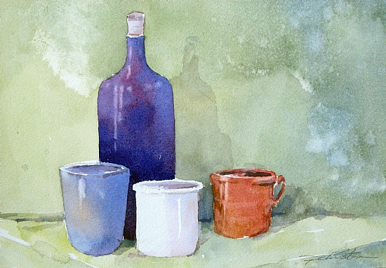 Drinks All Round by Paula Christen Watercolor ~ 7.5 x 11
