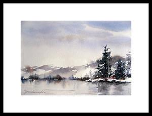 January Shoreline by Paula Christen Watercolor ~ 7 x 10