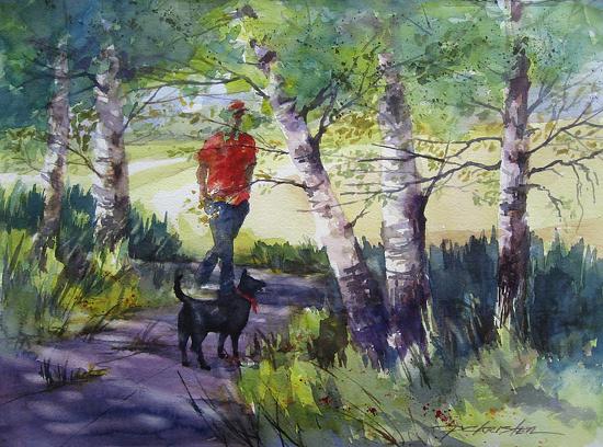 Taking the Long Way by Paula Christen Watercolor ~ 11 x 15