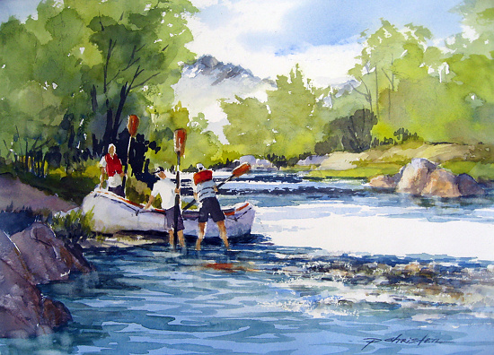 Putting Ashore by Paula Christen Watercolor ~ 11 x 15