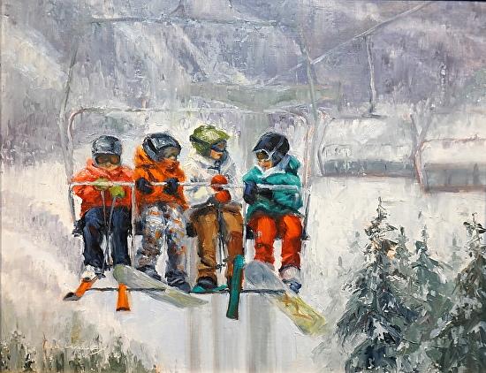 Skiing Buddies - Oil