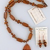 Wood Beads with Tear Drop Pendant