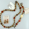 Necklace, Earring & Bracelet Set - Red Agate, Bone, Stone