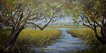 Commission - Quiet Creek by Karen Burnette Garner Acrylic ~ 12 x 24