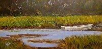 """Waiting on the Tide by Karen Burnette Garner Acrylic ~ 6"""" x 12"""""""