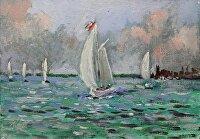 "Sailing the Harbor by Karen Burnette Garner Acrylic ~ 5"" x 7"""