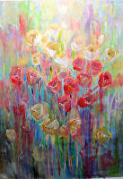 """Spring Rain by Karen Burnette Garner Acrylic ~ 36"""" x 24"""""""