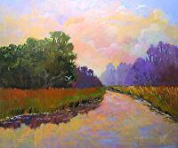 "Dusk Along the ACE Basin, SC by Karen Burnette Garner Acrylic ~ 20"" x 24"""