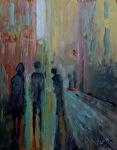 On the Corner by Karen Burnette Garner Acrylic ~ 10 x 8