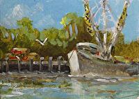 "at Dock by Karen Burnette Garner Acrylic ~ 5"" x 7"""