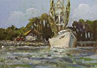 "At Dock #2 by Karen Burnette Garner Acrylic ~ 5"" x 7"""