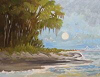 """Charleston Moonlight by Karen Burnette Garner Acrylic ~ 8"""" x 10"""""""