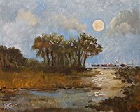"Charleston Moon -- Distant Harbor by Karen Burnette Garner Acrylic ~ 8"" x 10"""