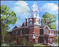 "Historic Gwinnett County Courthouse, Lawrenceville, GA by Karen Burnette Garner Acrylic ~ 8"" x 10"""