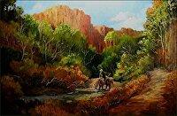 """Along The Trail by Karen Burnette Garner Acrylic ~ 24"""" x 36"""""""