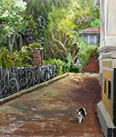 "Who Owns This Cat? by Karen Burnette Garner Acrylic ~ 10"" x 8"""