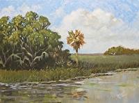 "Lone Palmetto by Karen Burnette Garner Acrylic ~ 12"" x 16"""