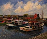 Rockport, Mass - The Inner Harbor by Karen Burnette Garner Acrylic ~ 8 x 10
