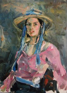 Girl with Hat by James Buncak Oil ~ 28 x 22
