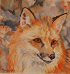 Fox on the Rocks by Lisa Manners Watercolor ~ 9 x 9