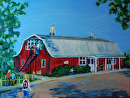 Burgundy East Barn by Lisa Manners Oil ~ 16 x 20