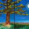 Moonrise - Mixed Media Diptych