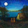 Two Dogs Camping- 16x16 Inches bow-WOW by Constance Vlahoulis 80  Year Archival Ink ~ 16 x 16 inches