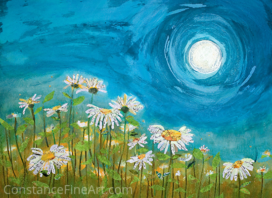 Moonshine Daisies - Mixed Media