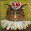 Royal Puss by Constance Vlahoulis 80  Year Archival Ink ~ 8 inches x 8 inches