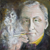 "Ian Fleming~ For Your Eyes Only ~ by Constance Vlahoulis  ~ 36 x 36 inches + 4"" frame"
