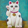 Lucky Kitty (Right Paw) by Constance Vlahoulis Oil ~ 10 inches x 8 inches