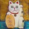 Lucky Kitty (Left Paw) by Constance Vlahoulis Oil ~ 10 inches x 8 inches