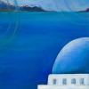 Passport Series (Santorini) - Original by Constance Vlahoulis Oil over Acrylic ~ 18 inches x 24 inches