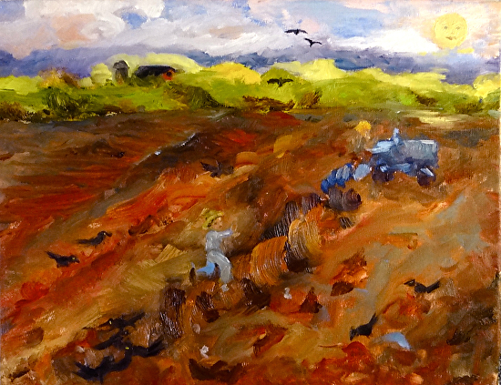 Grackles, Cow-Birds, and Grubs by Carol Berning Oil ~ 11 x 14