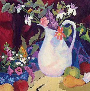 White Pitcher Floral by Anna Lee Steed Acrylic ~ 20