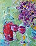 "Wine for 2 by Filomena Booth Acrylic ~ 14"" x 11"""