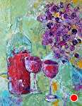 """Wine for 2 by Filomena Booth Acrylic ~ 14"""" x 11"""""""