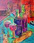"""Bread and Wine by Filomena Booth Mixed watermedia ~ 14"""" x 11"""""""