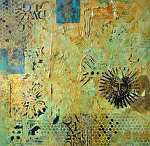 "Aztec Sun II by Filomena Booth Mixed ~ 12"" x 12"""