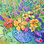 "No Shrinking Violets Please by Filomena Booth Acrylic ~ 36"" x 36"""
