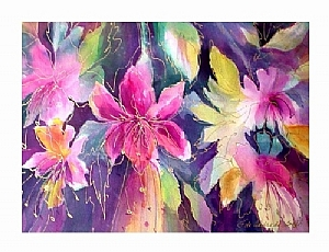 Fantasy Fuchsia by Filomena Booth Watercolor ~ 20 x 16