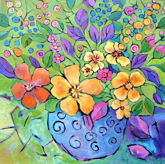 """No Shrinking Violets Please by Filomena Booth Acrylic ~ 36"""" x 36"""""""