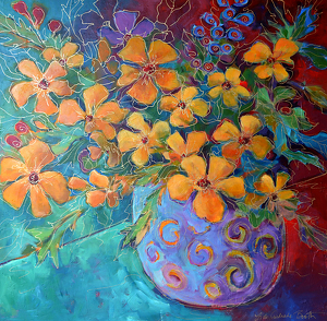 "Flores en Vaso Azul by Filomena Booth Acrylic ~ 40"" x 40"""