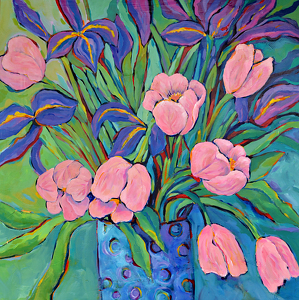 "Irises and Tulips by Filomena Booth Acrylic ~ 40"" x 40"""