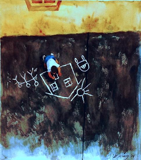An American Dream - watercolor/guache