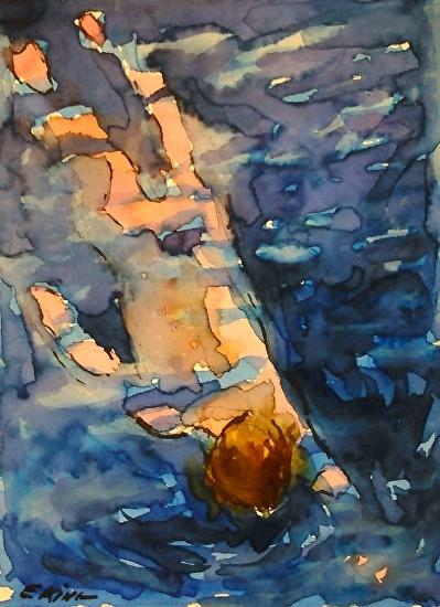 Swimmer - Watercolor