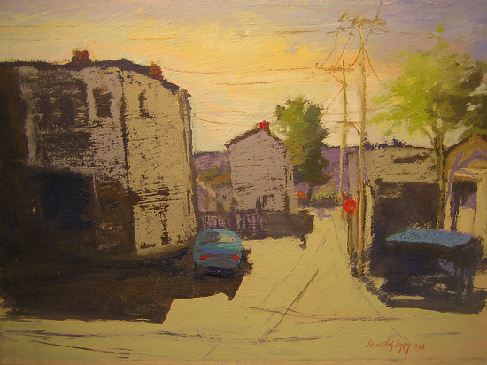 "Carol Volz Begley ""Sunny Saturday on Diamond Alley in Carnegie, PA"" Award for Exceptional Merit by  Pastel Society of North Florida Pastel ~  x"